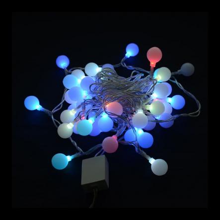 Гирлянда внутренняя DELUX WHITE BALL C 2.0cm 30LED 4.5m multi/прозраная IP20 - 1