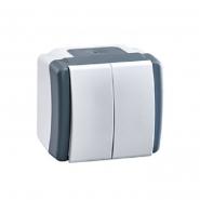 Выключатель двухклавишный Mono Octans без подсветки 10 А 250В серый 154-020001-102