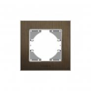 Рамка шоколадный алюминий одинарная горизонтальная VIDEX BINERA
