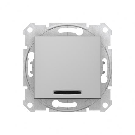 Выключатель 1 кл. алюминий с подсветкой Sedna - 1