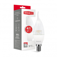 Лампа LED C37 CL-T 4W 4100K 220V E14 Maxus