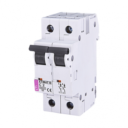 Автоматический выключатель ETI 10 2p C 2А (10 kA) 2133708 - 1
