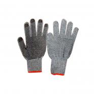 Перчатки х/б серый с черной  точкой