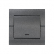 Выключатель 1-кл с подсветкой темно серый металлик DERIY