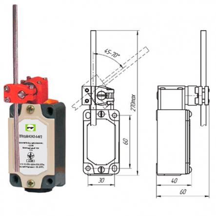 Выключатель концевой Промфактор ВП 15М 4242 рычаг штыревой регулируемый по длине и наклону - 1