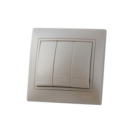 Выключатель 3-кл жемчужно-белый перламутр со вставкой MIRA. - 1