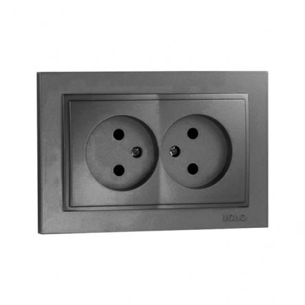 Розетка 2-я без заземления , Mono Electric, DESPINA ( графит ) - 1