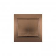 Выключатель 2-х клав. светло-коричневый перламутр с/вст. MIRA