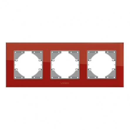 Рамка на 3 места горизонтальная VIDEX Binera Красное стекло (VF-BNFRG3H-RD) - 1