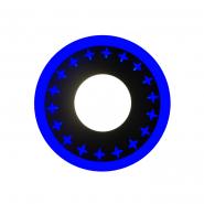 """Панель LED Lemanso """"Звезды"""" 12+6W с синей подсветкой 1080Lm 4500K 195*30mm 175-265V / LM545 круг"""
