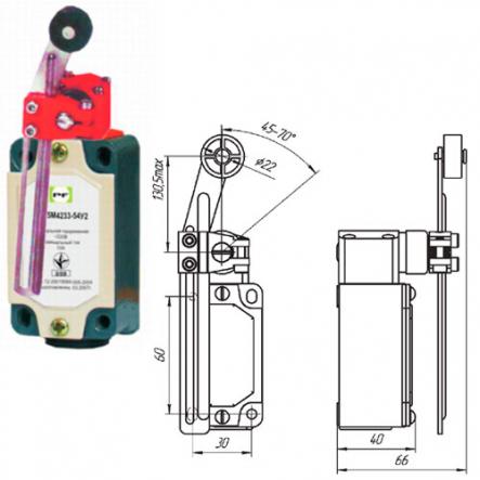 Выключатель концевой Промфактор ВП 15М 4233 рычаг поворотный регулятор по высоте с роликом IP54 - 1
