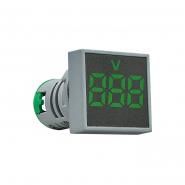 Вольтметр квадратный  ED16-22FVD 30-500В АС (зелёный) врезной монтаж
