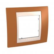 Рамка 1-местная оранжевый/бежевый Unika