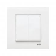 Выключатель двухклавишный белый VIKO Серия KARRE