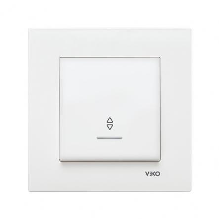 Выключатель одноклавишный проходной с подсветкой белый VIKO Серия KARRE - 1