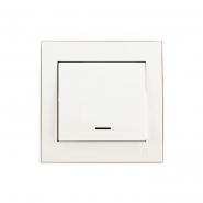 Выключатель одноклавишный с подстветкой  жемчужно-белый перламутр Lezard серия RAIN