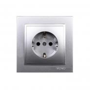 Розетка 1-я  с заземлением , Mono Electric, DESPINA (серебро)