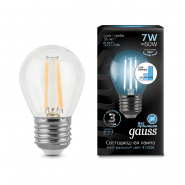 Лампа Gauss LED Filament Шар E27 7W 580lm 4100K step dimmable