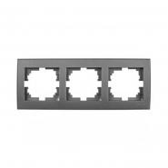 Рамка трехместная Lezard Rain горизонтальная антрацит 703-4242-148