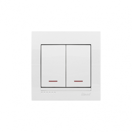 Выключатель двойной с подсветкой с белой вставкой белый MIRA LEZARD - 1