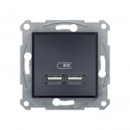 Розетка USB  2,1А антрацит Asfora