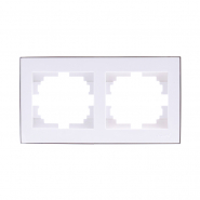 Рамка 2-я горизонтальная с боковой вставкой хром Lezard серия RAIN