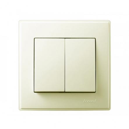 Выключатель двухклавишный Lezard Lesya 10 А 250В кремовый 705-0303-101 - 1