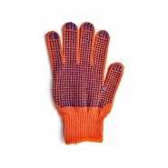Перчатки трикотажные оранж.с ПВХ точкой 526