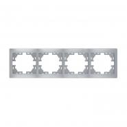 Рамка 4-я горизонтальная металл серый б/вставок Lezard серия MIRA