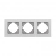 Рамка серебрянный алюминий 3-я горизонтальная VIDEX BINERA