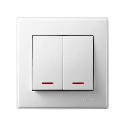 Выключатель двухклавишный Lezard Lesya с подсветкой 10 А 250В белый 705-0202-112 - 1