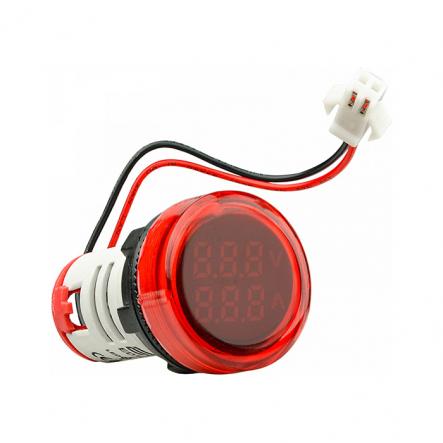 Амперметр+вольтметр круглый цифровой универсал.ток + напряж.ED16-22 VAD0-100А 50-500В(красный)врезн. - 1