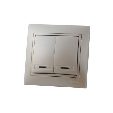 Выключатель 2-кл с подсветкой жемчужно-белый перламутр со вставкой MIRA. - 1