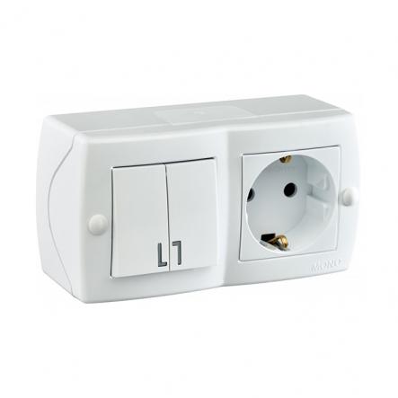 Выключатель 2кл+розетка с заземлением накладной Mono Electric, OCTANS IP 20 белый - 1