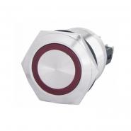 Кнопка металлическая плоская 22мм с подсветкой  1NO+1NC, красная 220V TYJ 22-271красн