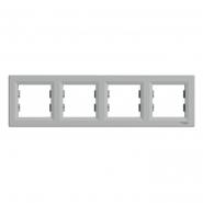 Рамка 4-я горизонтальная  ASFORA  алюминий