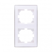 Рамка RAIN 2-я вертикальная белый с  боковой вставкой хром (10шт.) (120ящ)