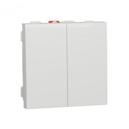 Выключатель двухклавишный Schneider Electric NU321118, 10А 2М (белый) - 1