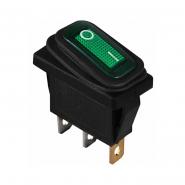 Перемикач 1 клав. вологозах. з підсвічуванням KCD3-101WN GR/B  220V АСКО