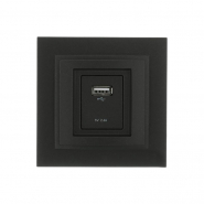 Розетка USB-ЗАРЯДКА, Mono Electric, DESPINA  ( графит )