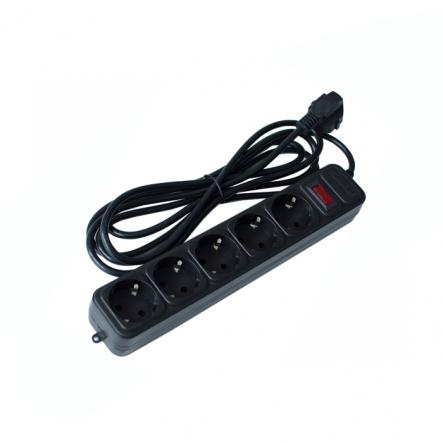 Удлинитель 5гн+Z+сетевой фильтр 1.8м. черный Maxxtro - 1