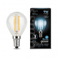 Лампа Gauss LED Filament Шар E14 9W 710lm 4100K