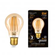 Лампа FIL Gauss A60 8W E27 2400К 850lm Golden
