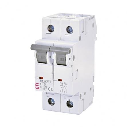 Автоматический выключатель ETI 6 2p C 6А (6 kA) 2143512 - 1