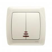 Выключатель двухклавишный с подсветкой крем VIKO Серия CARMEN