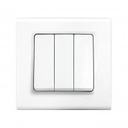 Выключатель трехклавишный белый  LINNERA VIKO