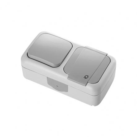 Выключатель одноклавишный+розетка з заземлением VIKO Серия Palmiye влагозащищенный серый - 1