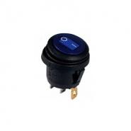 Перемикач 1 клав.круглий вологозах. з підсвічуванням KCD1-5-101WN BL/B 220V АСКО