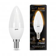 Лампа Gauss LED Black C37 9.5W E14 3000К