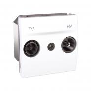 Розетка телевизионная ТV+FМ проходная белая Unika